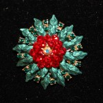1.5 inch white center, red crystals, green leaves round pin
