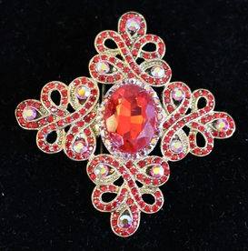 2 inch Red Brooch