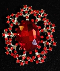 2.25 Red Brooch Pin, 1.25 center stone, red stones in filigree