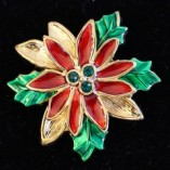 2 in Gold tone Poinsettia Pin