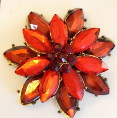 Poinsettia Layered, Red Crystal Center