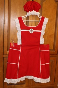 Red-Apron-and-Bonnet-57-inch-waist-199x300
