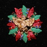 Red, Green Petal Circle with Blue Crystals, Gold Angel Center