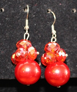 Gorgeous Real Red 1 2 Pearl With Crystals Drop Earrings Matching Necklace And Bracelet For Complete Set Available