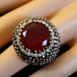 Ring Red Round Ruby with Diamonds