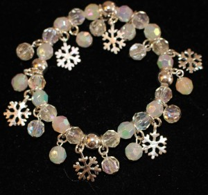 White Beads and Snowflake Bracelet