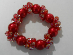 red Pearls & Crystal Bracelet
