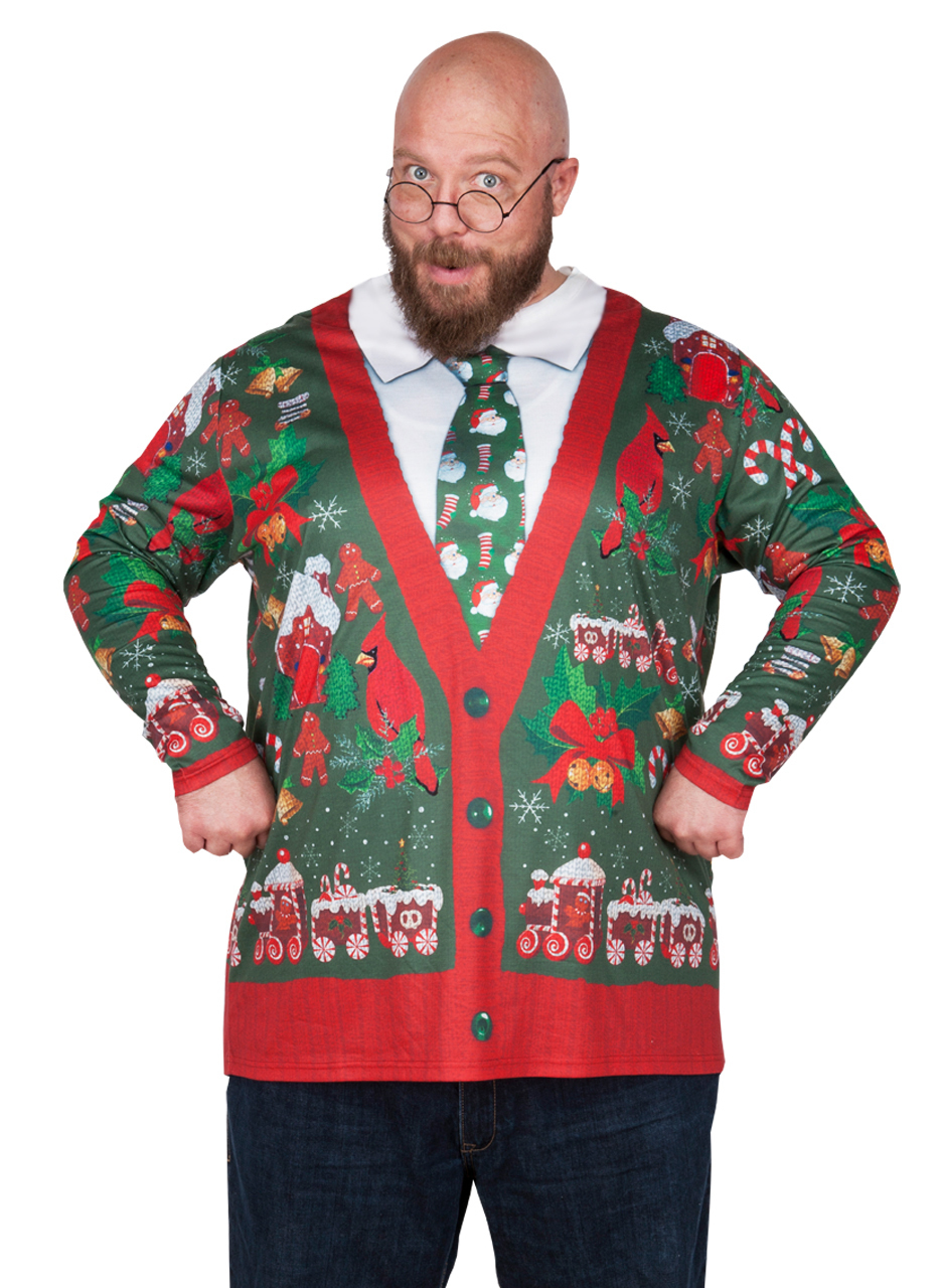 Ugly Christmas Cardigan Fake Sweater Long Sleeve T-Shirt Sizes L ...