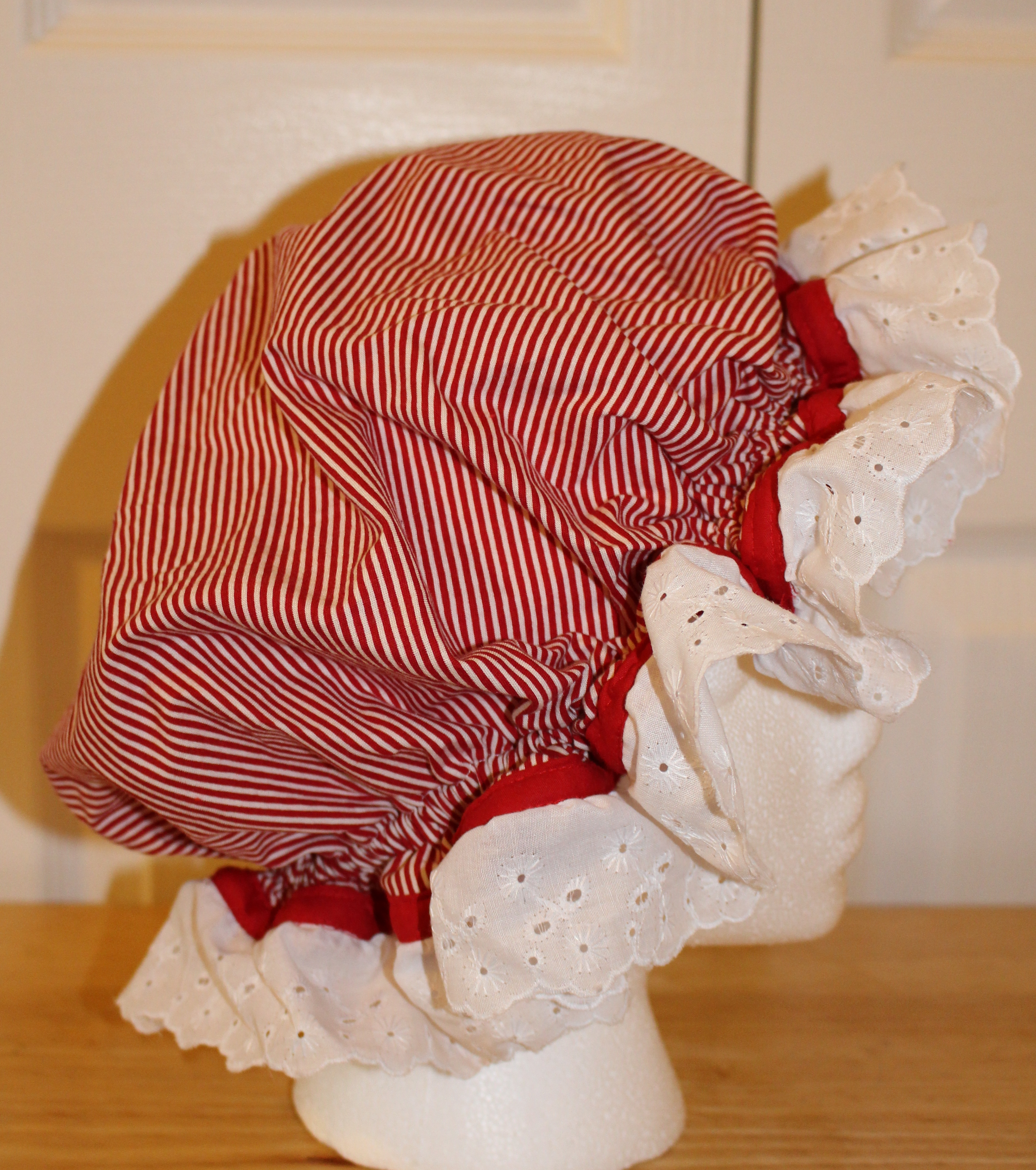 Mrs claus bonnet muffin hat red white peppermint