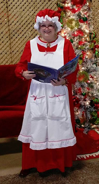 Mrs. Claus Red Dress, Bonnet & White Apron