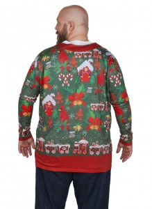 Christmas Cardigan Fake Tee shirt back clear